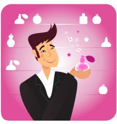 man with pink perfume bottle vector image