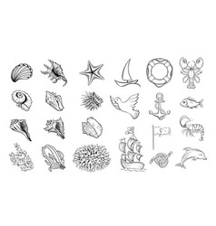 marine themed hand drawn set vector image