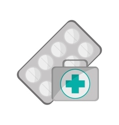 Medicine tablets and first aid kit icon vector