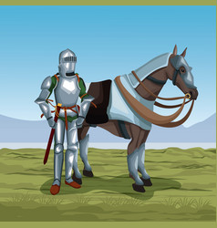 Medieval warrior with horse on battlefield vector
