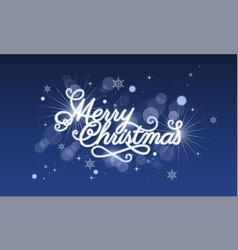 Merry christmas greeting card blue glowing vector