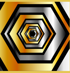 metallic hexagonal illusion vector image