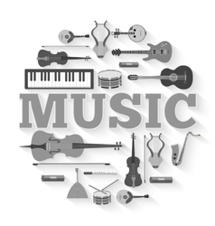 Music instruments circle infographics template vector image