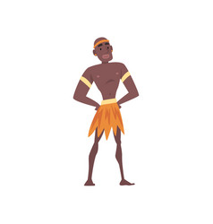 Native black skinned man in traditional clothes vector