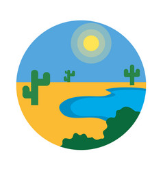 Oasis landscape icon flat style vector
