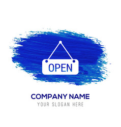 open icon - blue watercolor background vector image