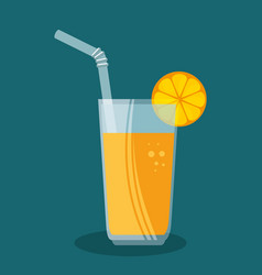 orange juice fruit icon vector image
