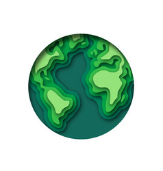 paper cut green earth map circle concept isolated vector image