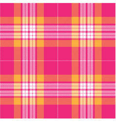 Pink and orange tartan plaid seamless pattern vector