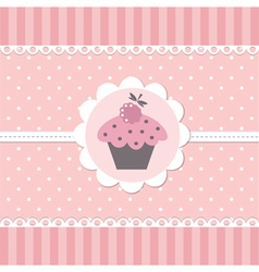 Pink babackground with cupcake vector