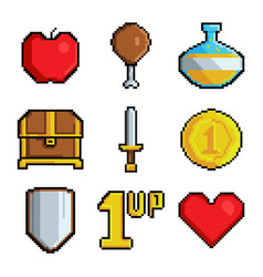 Pixel games icons various stylized symbols vector