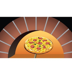 Pizza in oven vector