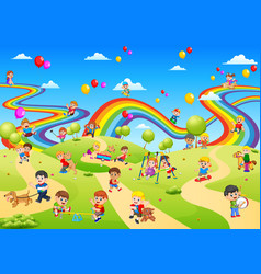 Playground full of the children palying on it vector