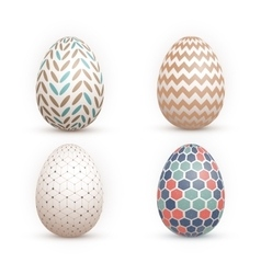 Realistic 3D Easter Egg Set Happy Easter vector