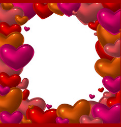 red glass hearts frame vector image