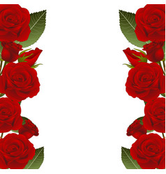 Red rose flower frame border vector