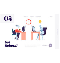 Robot working all time landing page character vector