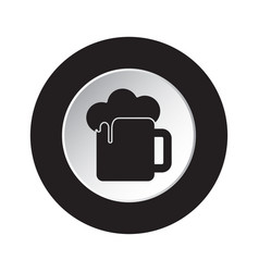 round black and white button - beer with foam icon vector image