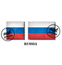 russia or russian flag pattern postage stamp with vector image