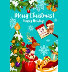 santa sleigh with christmas gift and reindeer card vector image