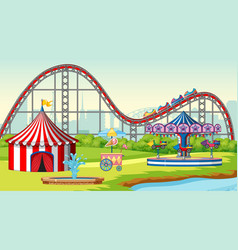 Scene with roller coaster and carousel in fun vector