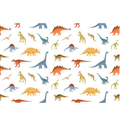 seamless kids pattern with different dinosaurs vector image