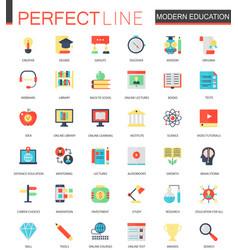 set flat modern education e-learning vector image