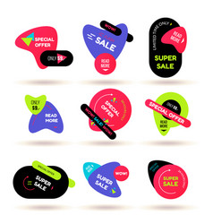 Set of modern flat sale stickers badge for online vector
