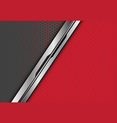 silver black line overlap on red grey hexagon vector image