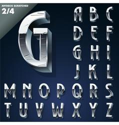 Silver chrome or aluminum 3D alphabet vector image