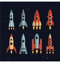 Space rockets icons set in flat style vector image