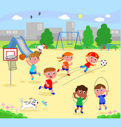 Sportive children at the park vector