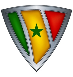 steel shield with flag senegal vector image