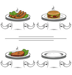Tasty fast food on a plate vector