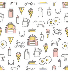 Thin line art dairy seamless pattern vector