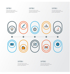 trade colorful outline icons set collection of vector image