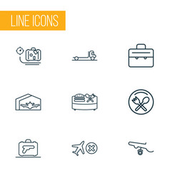 Transportation icons line style set with airplane vector