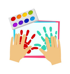 Two hands painting with finger paint elementary vector
