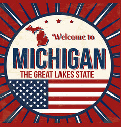 welcome to michigan vintage grunge poster vector image