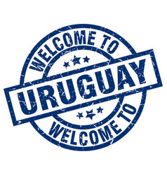 Welcome to uruguay blue stamp vector