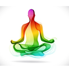 Yoga pose Abstract color background vector