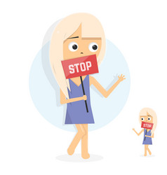 young girl holding placard with stop sign vector image
