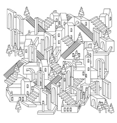 zen art outline city vector image