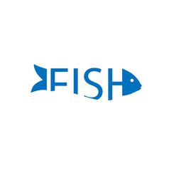 abstract fish text logo template vector image