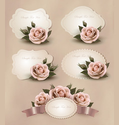 Collection of retro greeting cards with pink rose vector image