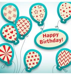 Happy birthday retro postcard with balloons vector