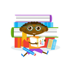 little boy sitting at stack of books reading cute vector image