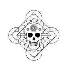 ornamental skull with geometric symbol vector image vector image