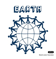 People standing together on Earth vector image