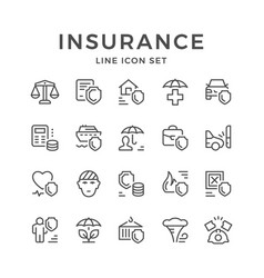 Set line icons of insurance vector